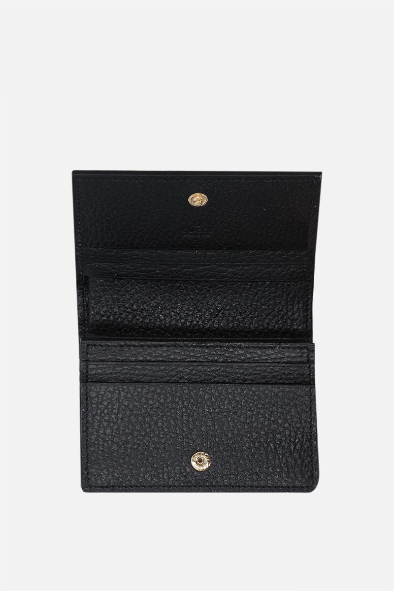 GUCCI: GG Marmont card case in GG Supreme coated canvas and grainy leather Color Black_2