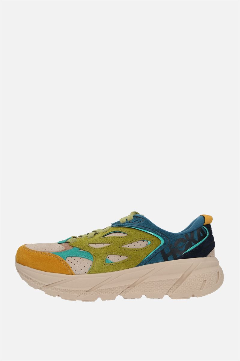 HOKA ONE ONE: sneaker Clifton L in suede Colore Multicolore_2