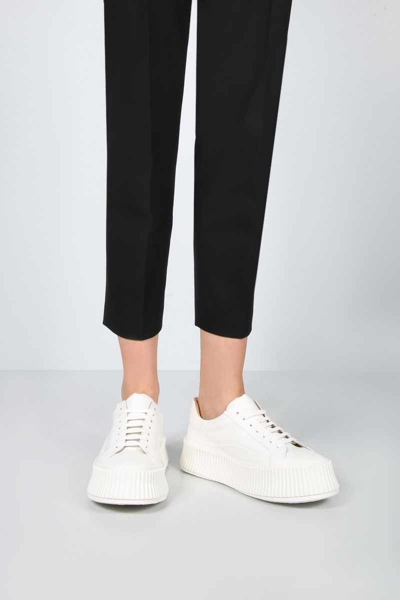 JIL SANDER: smooth leather and rubber low-top sneakers Color White_2