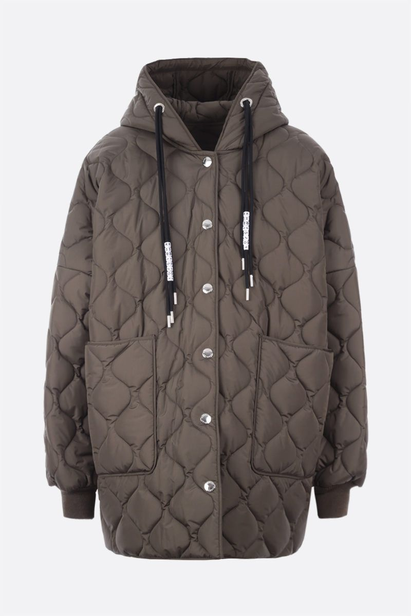 KHRISJOY: oversize quilted nylon jacket Color Green_1