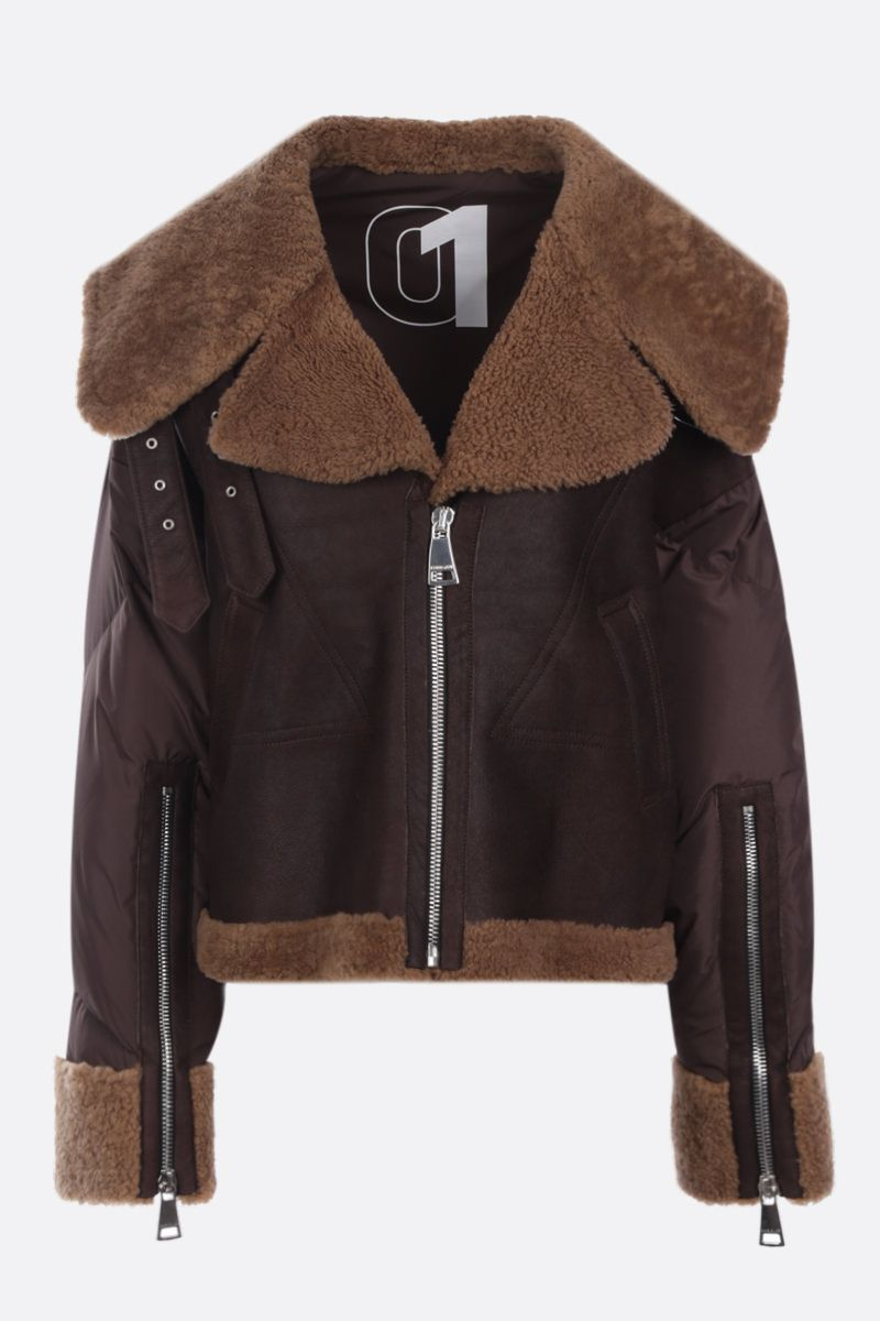 KHRISJOY: Aviator For Real jacket in shearling and padded nylon Color Brown_1