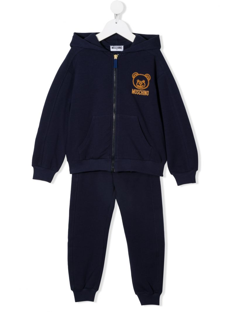 MOSCHINO KIDS: stretch cotton tracksuit Color Blue_1