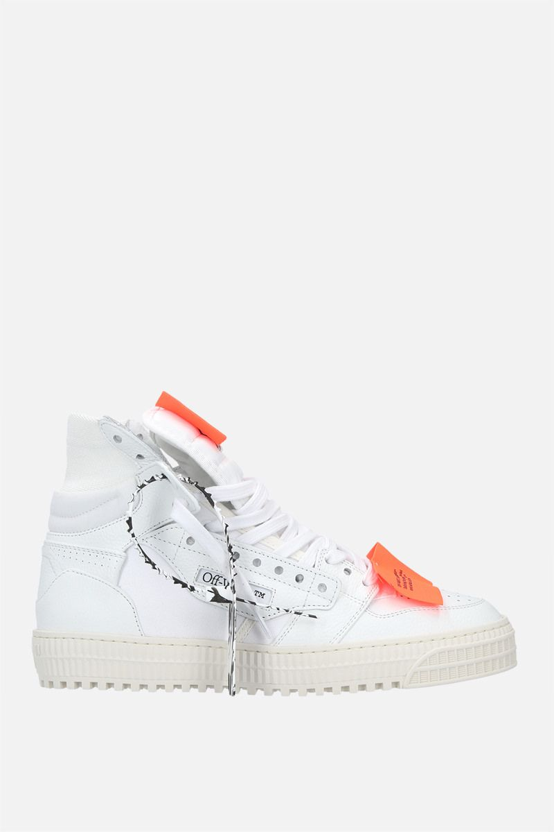 OFF WHITE: Off Court 3.0 grainy leather and canvas high-top sneakers Color White_1