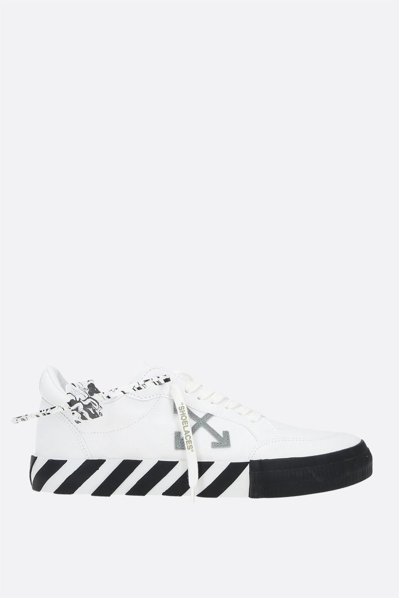 OFF WHITE: Low Vulcanized eco canvas sneakers Color White_1