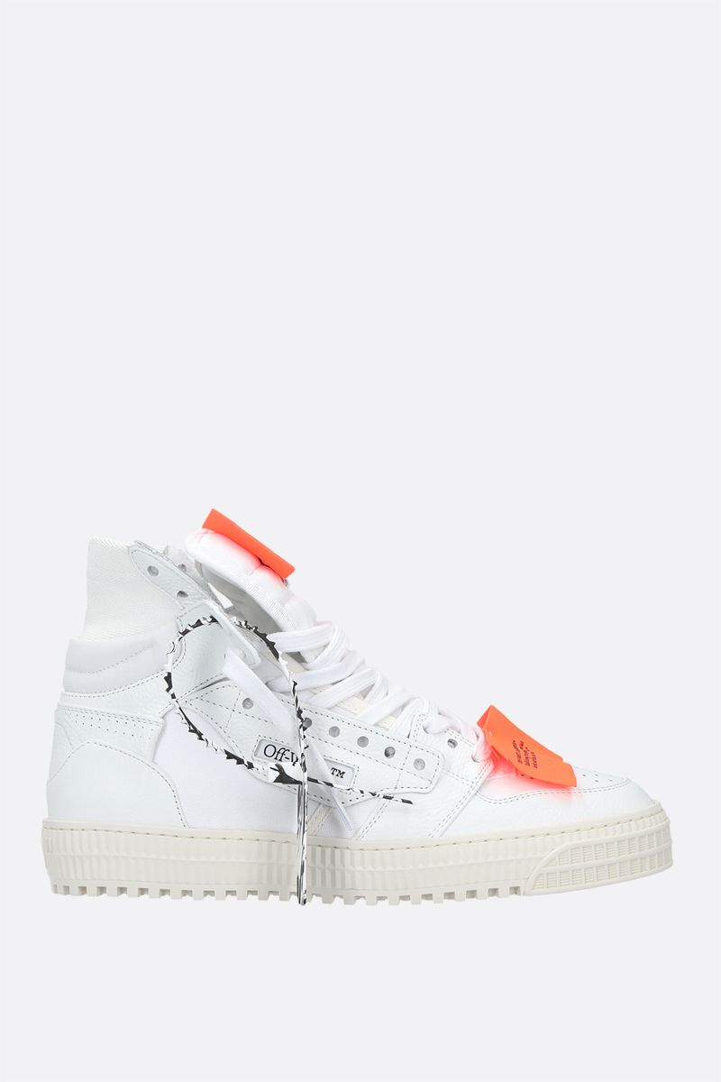 OFF WHITE: Off-Court 3.0 grainy leather and canvas high-top sneakers Color White_1