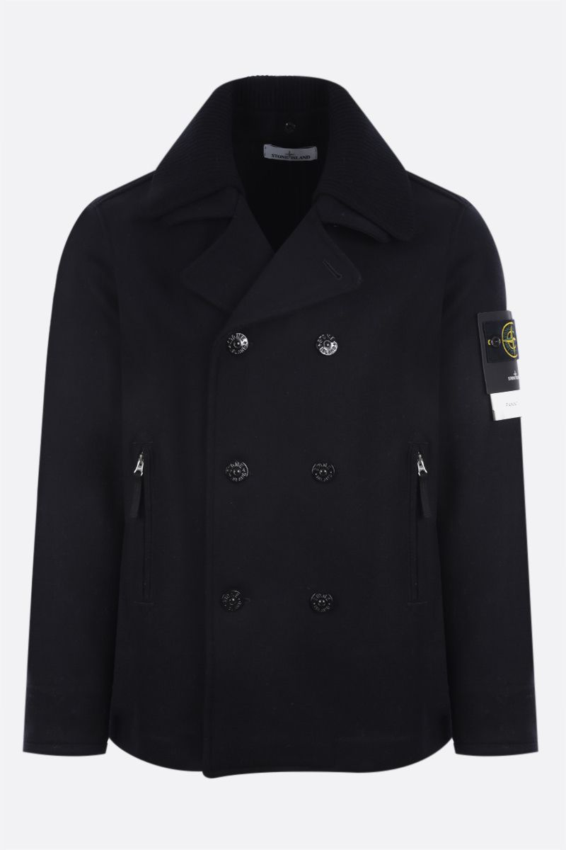 STONE ISLAND: double-breasted technical wool jacket Color Black_1