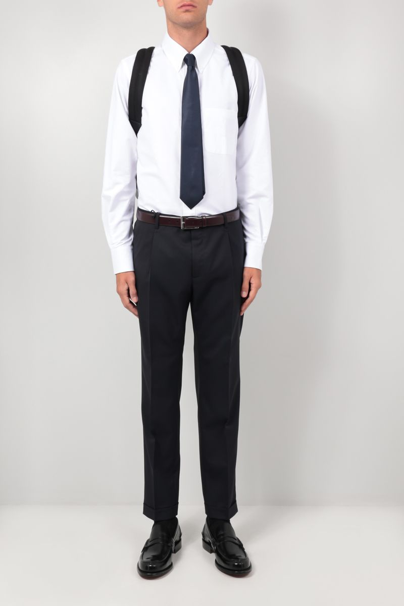 THOM BROWNE: Mr. Thom Icon embroidery cotton blend shirt Color White_2