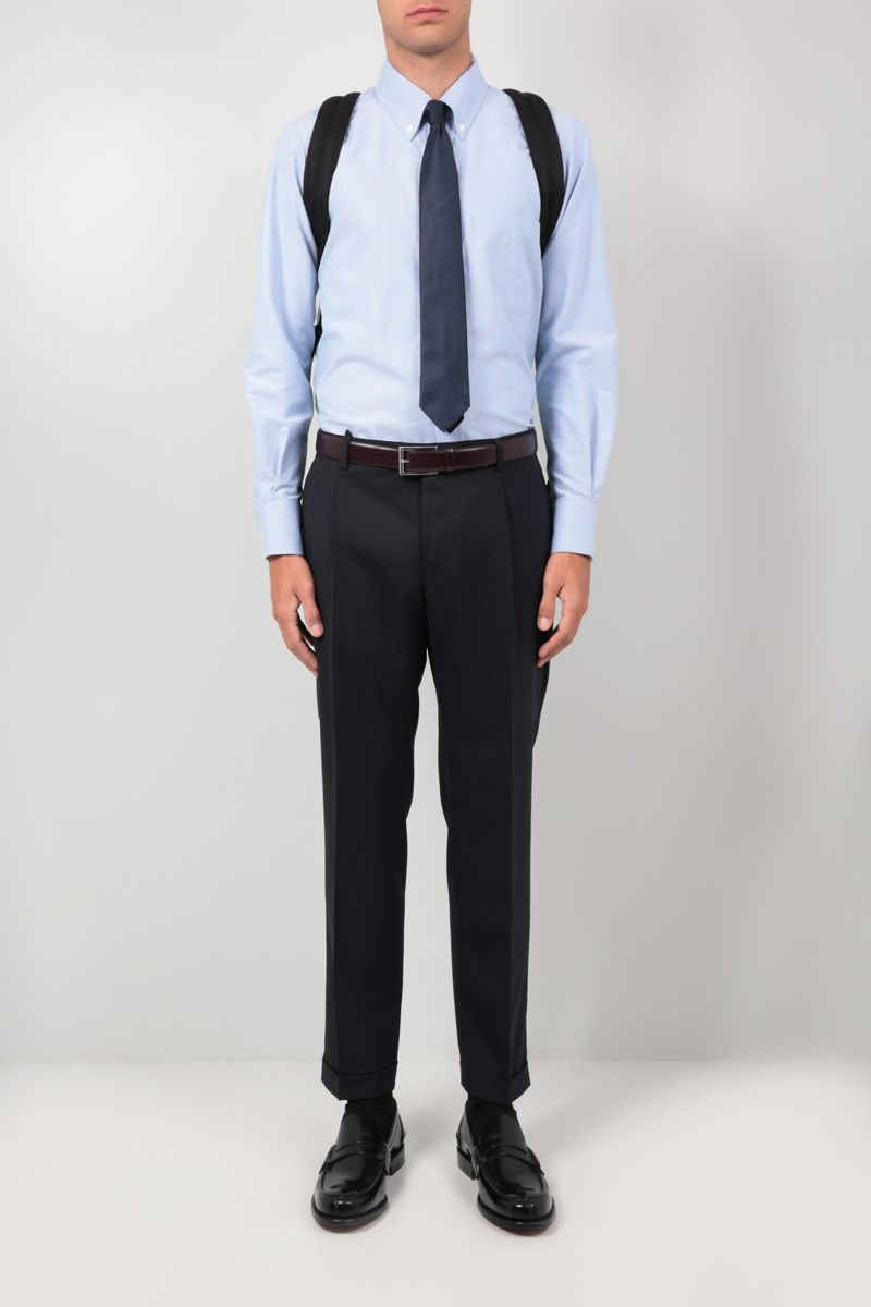 THOM BROWNE: Mr. Thom Icon embroidery cotton blend shirt Color Blue_2