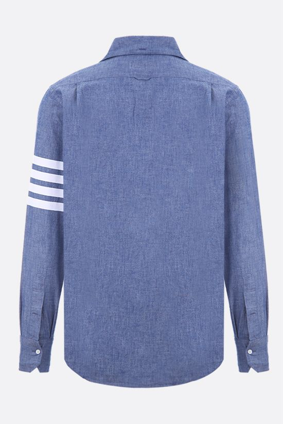 THOM BROWNE: 4-bar detailed cotton chambray shirt Color Blue_2