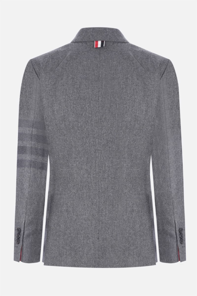 THOM BROWNE: 4-bar-detailed single-breasted flannel jacket Color Grey_2