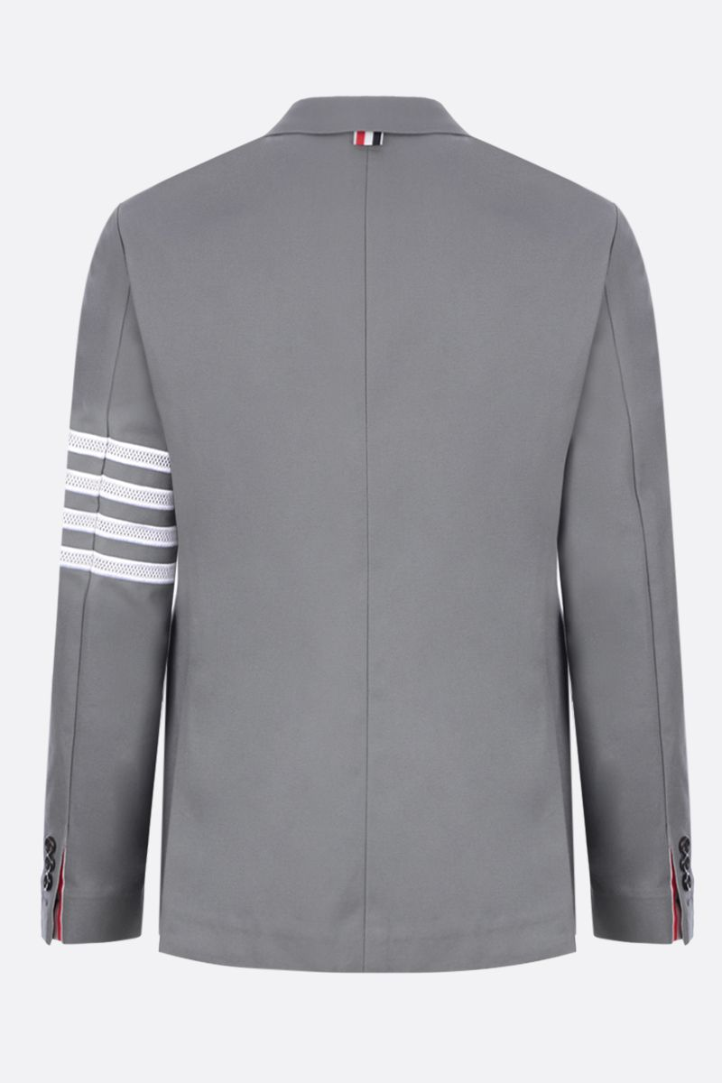 THOM BROWNE: 4-bar-detailed single-breasted canvas jacket Color Grey_2
