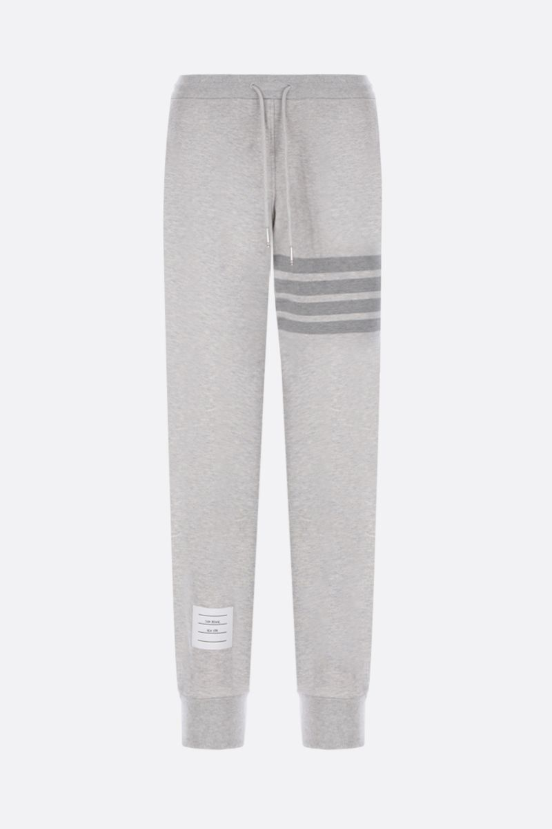 THOM BROWNE: 4-bar-detailed cotton joggers Color Grey_1