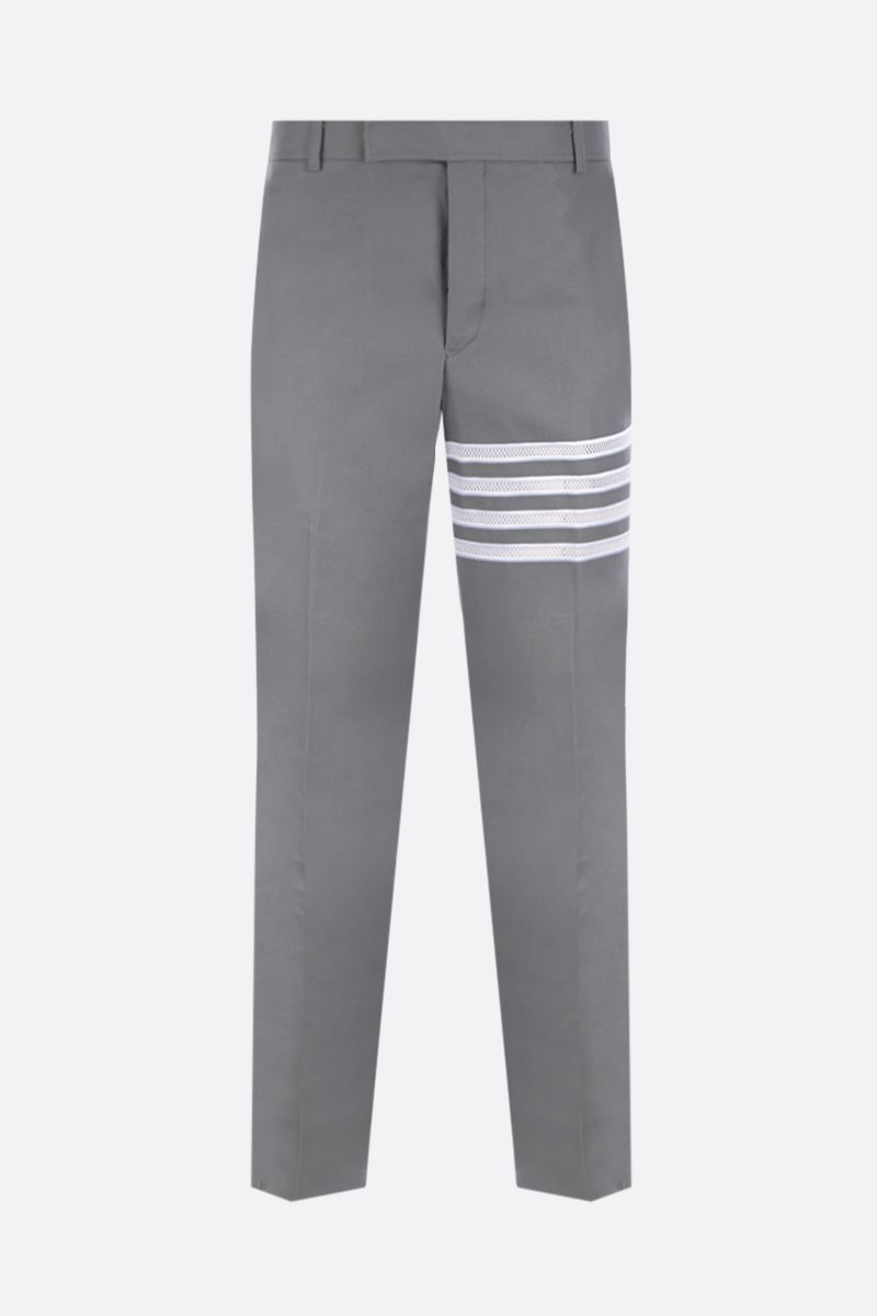THOM BROWNE: 4-bar-detailed canvas chino pants Color Grey_1