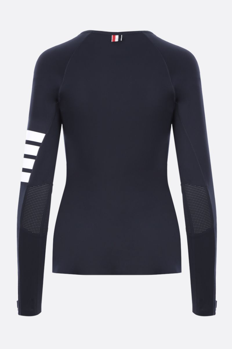 THOM BROWNE: long-sleeved technical fabric t-shirt Color Blue_2