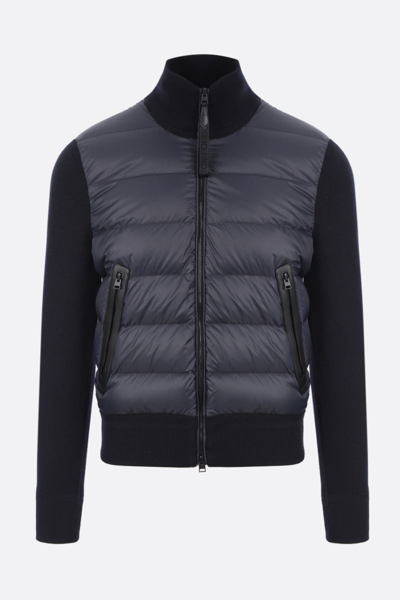 TOM FORD: full-zip knit jacket with down insert Color Blue_1