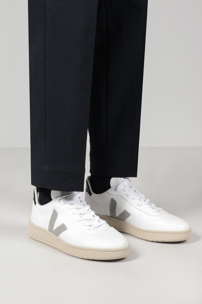 VEJA: V-10 smooth and perforated sneakers Color White_2