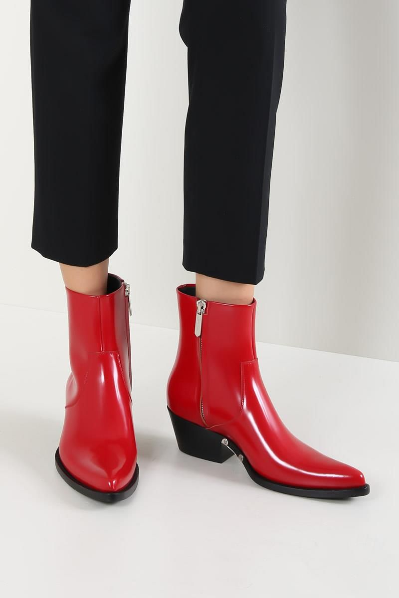 CALVIN KLEIN 205W39NYC: Tiesa western boots in brushed calf Color Red_2