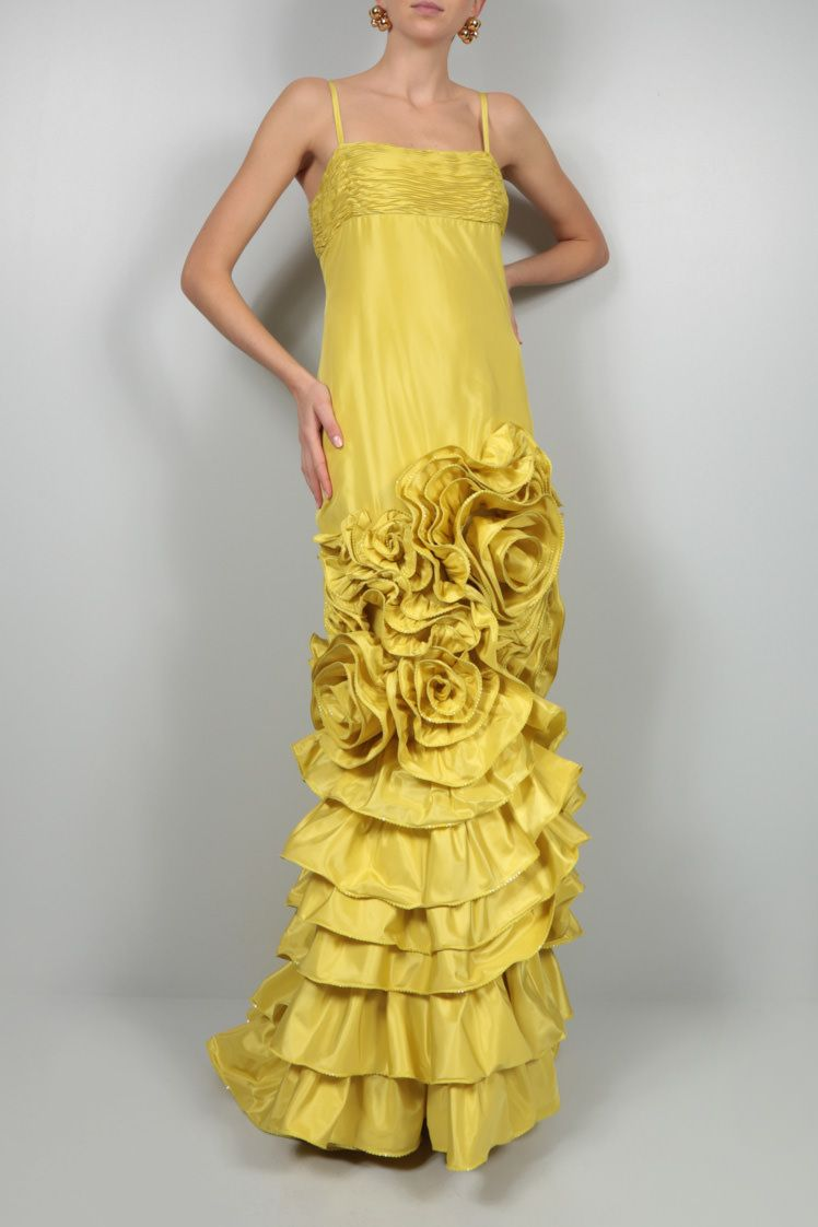 VALENTINO: silk taffeta gown Color Yellow_2