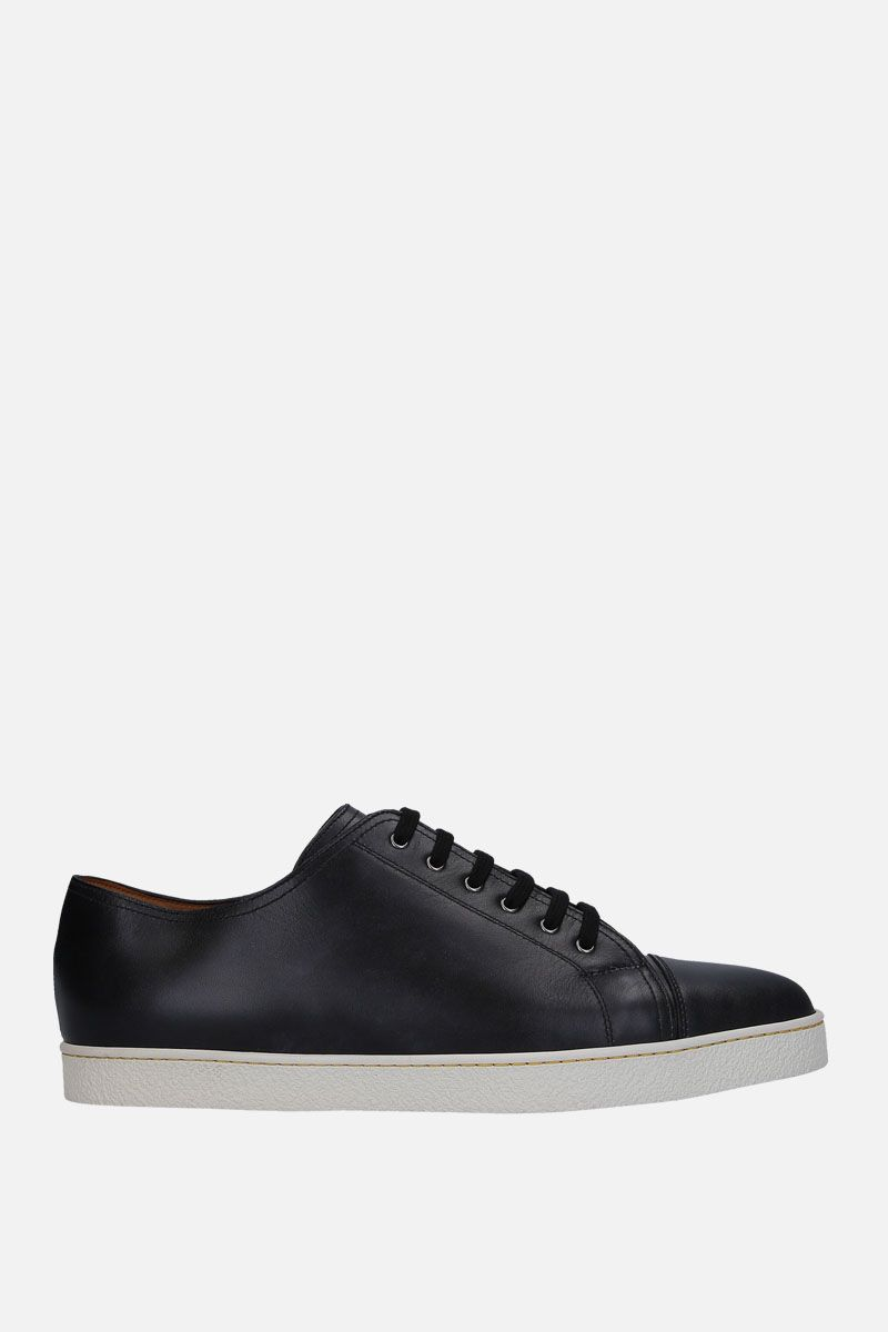JOHN LOBB: Levah sneakers in Museum leather Color Black_1