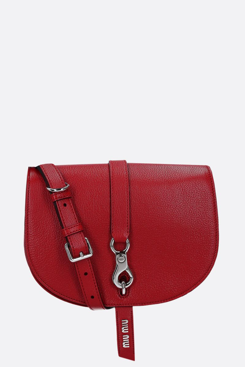 MIU MIU: Madras leather crossbody bag Color Red_1