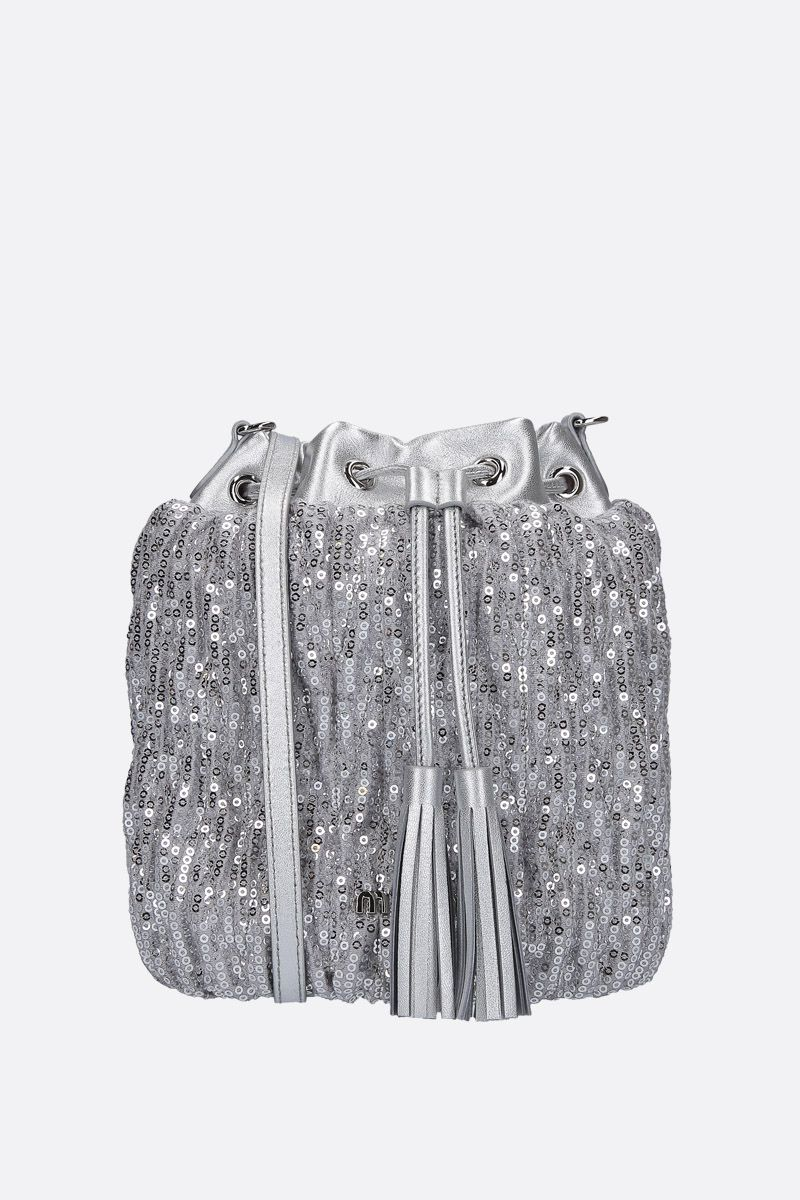 MIU MIU: sequinned bucket bag with leather details Color Silver_1
