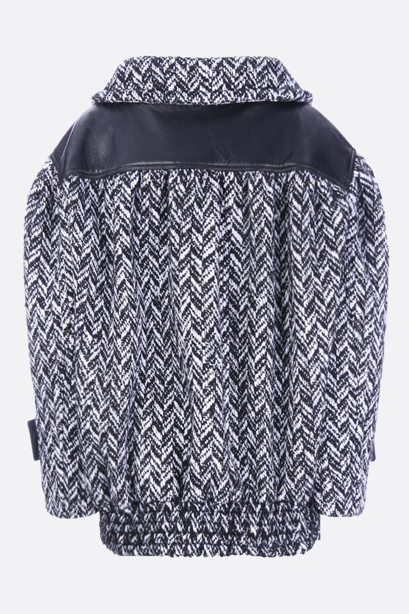 MIU MIU: chevron wool blend bomber jacket with leather inserts Color Black_2