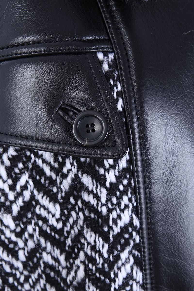 MIU MIU: chevron wool blend bomber jacket with leather inserts Color Black_3