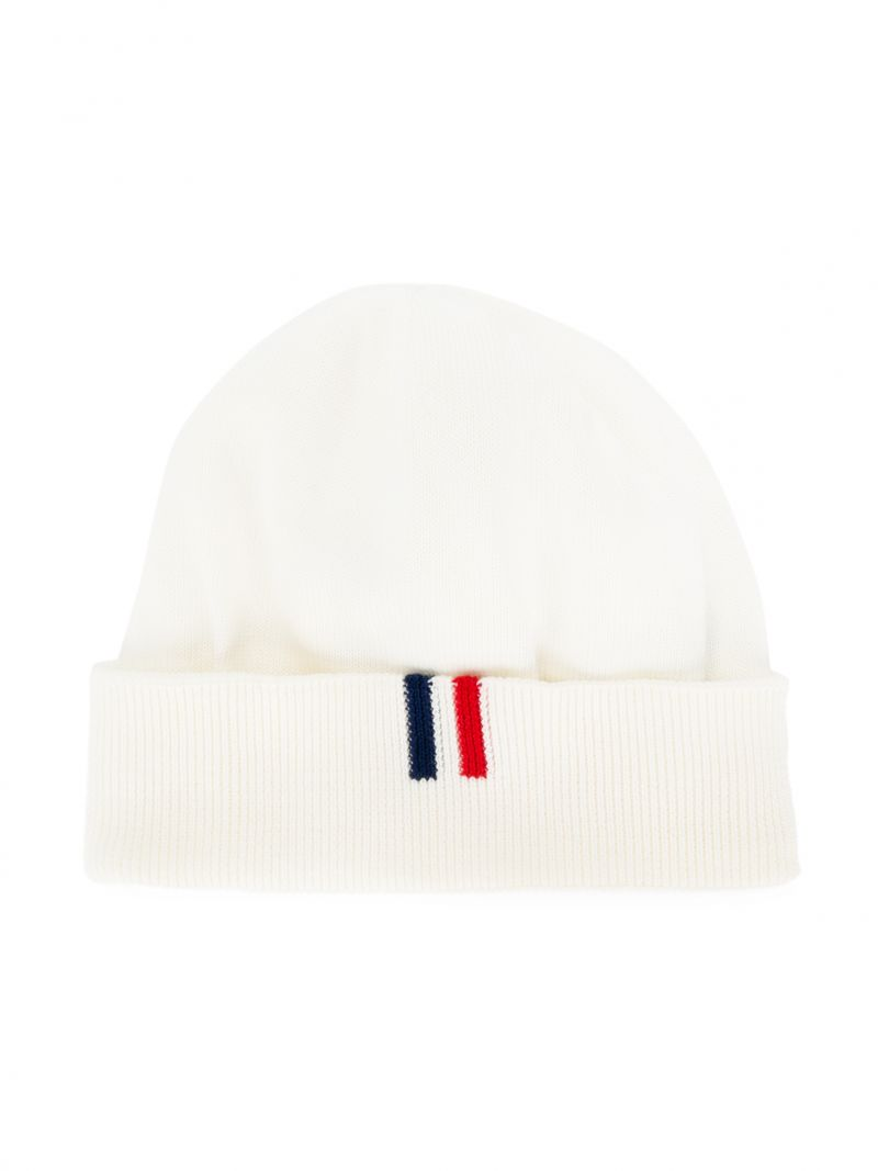 MONCLER KIDS: cotton knit beanie Color White_1