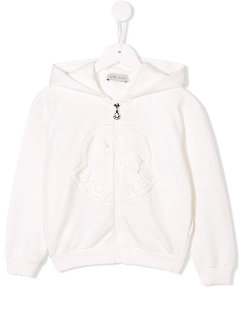 MONCLER KIDS: logo embroidered zipped hoodie Color White_1