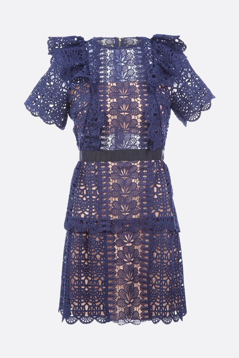 SELF PORTRAIT: Guipure lace minidress Color Blue_1