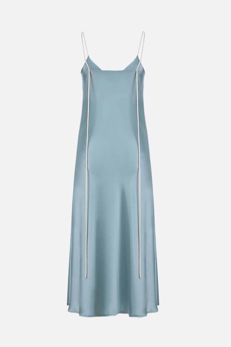 SSHEENA: Amo satin slip dress Color Green_3