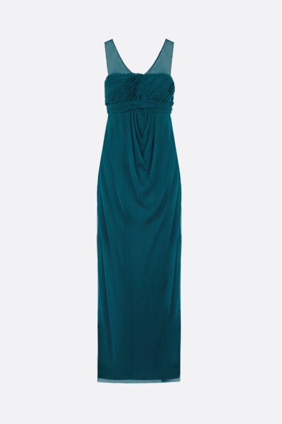 VALENTINO: draped bodice chiffon gown Color Green_1