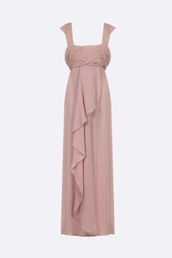 VALENTINO: embroidered bodice chiffon long dress Color Pink_1