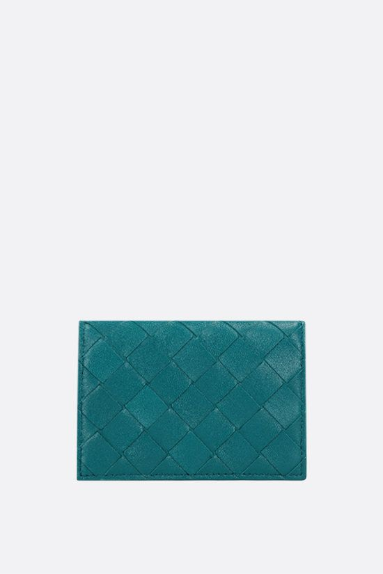 BOTTEGA VENETA: Intrecciato nappa flap card case Color Blue_1