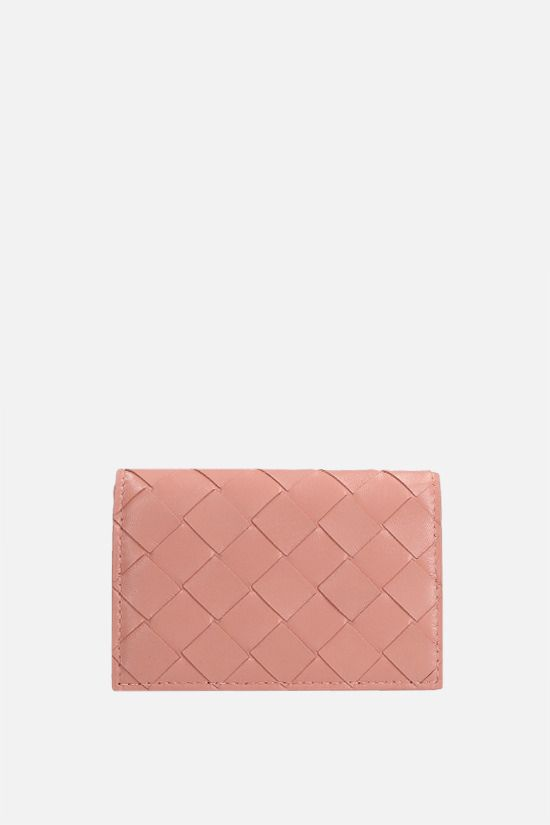 BOTTEGA VENETA: Intrecciato nappa flap card case Color Orange_1