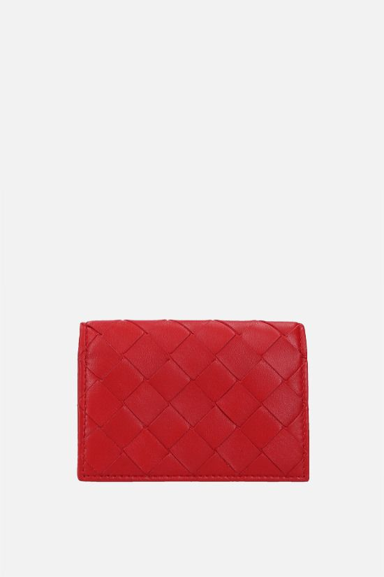 BOTTEGA VENETA: Intrecciato nappa flap card case Color Red_1