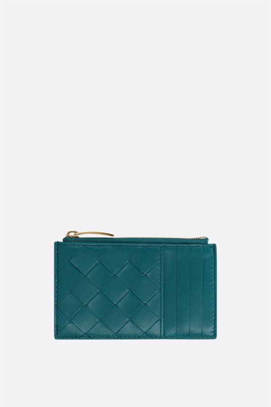 BOTTEGA VENETA: Intrecciato nappa zip card case Color Blue_1