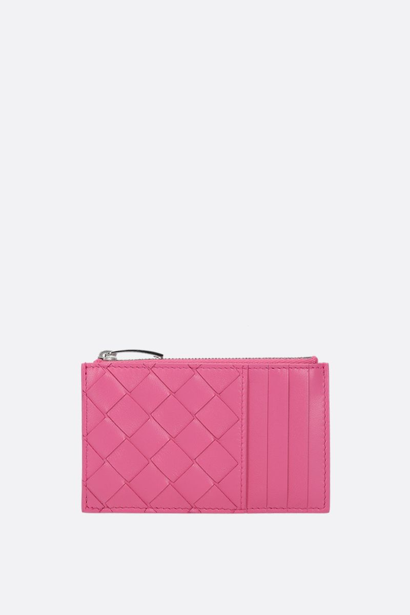BOTTEGA VENETA: Intrecciato nappa zip card case Color Pink_1
