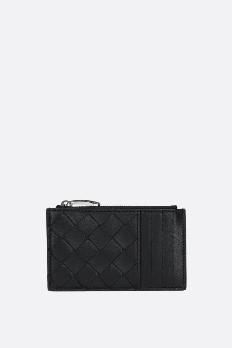 BOTTEGA VENETA: Intrecciato nappa zip card case Color Black_1