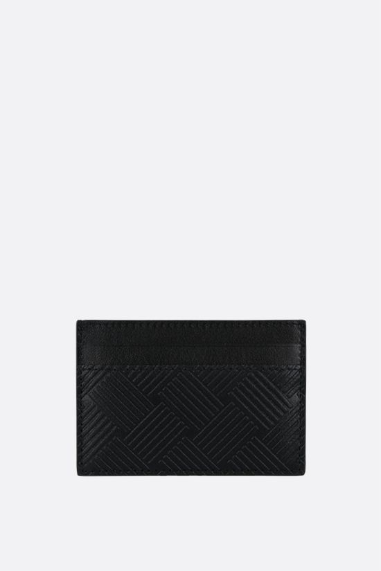 BOTTEGA VENETA: embossed leather card case Color Black_1