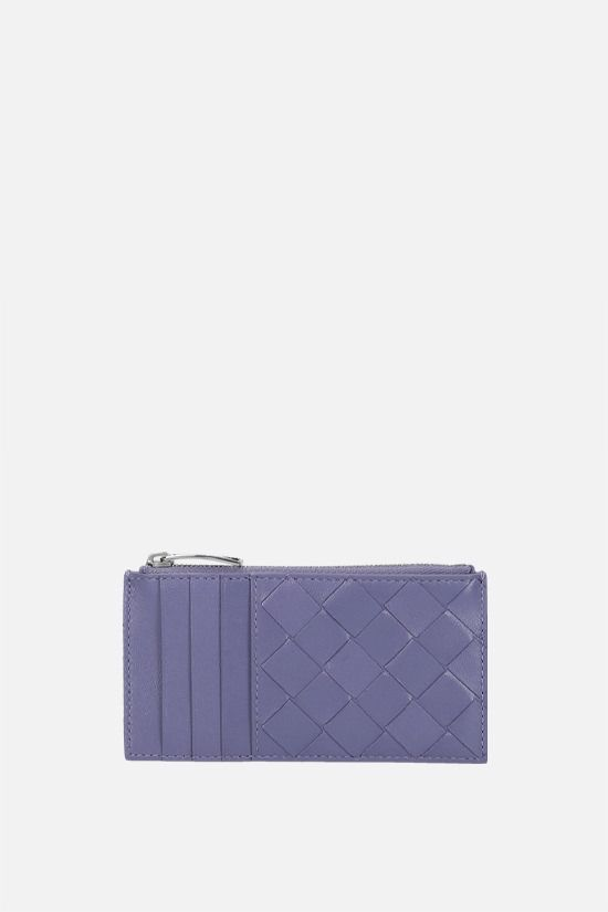 BOTTEGA VENETA: Intrecciato nappa zip card case Color Purple_1