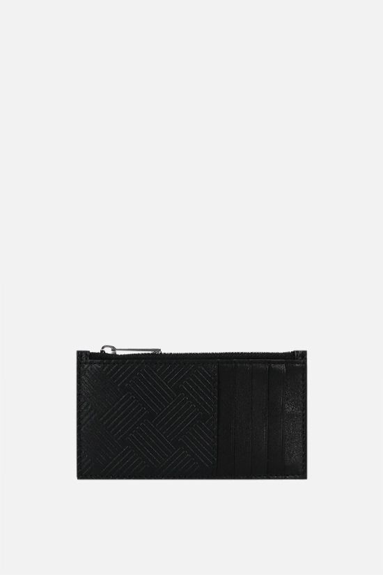 BOTTEGA VENETA: embossed leather zip card case Color Black_1