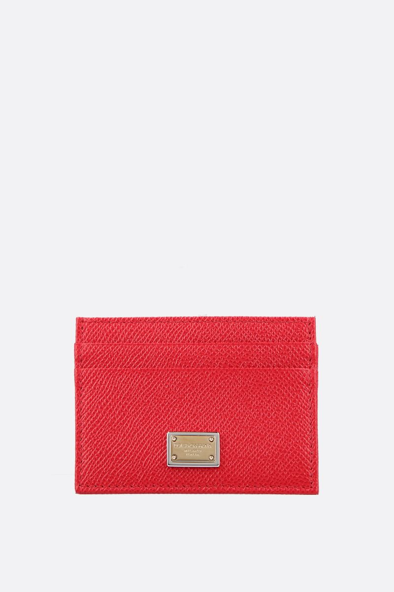 DOLCE & GABBANA: logo-detailed Dauphine leather card case Color Red_1