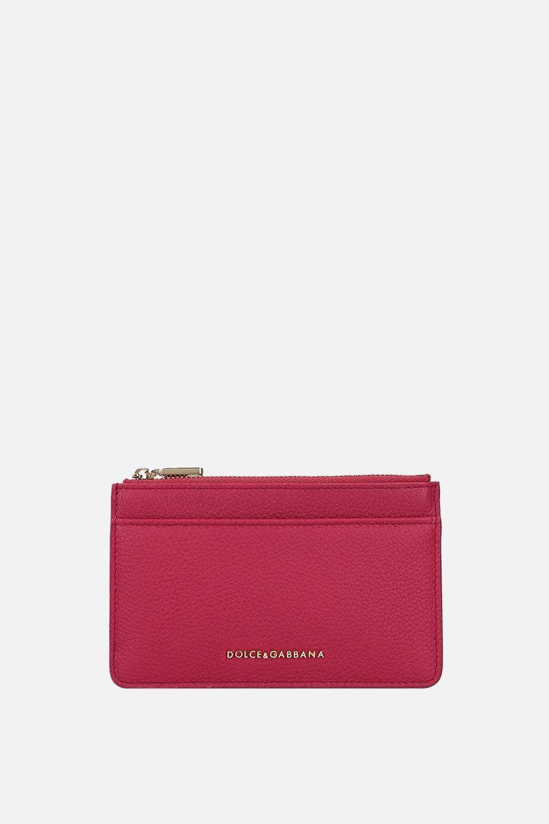 DOLCE & GABBANA: grainy leather zip card case Color Pink_1