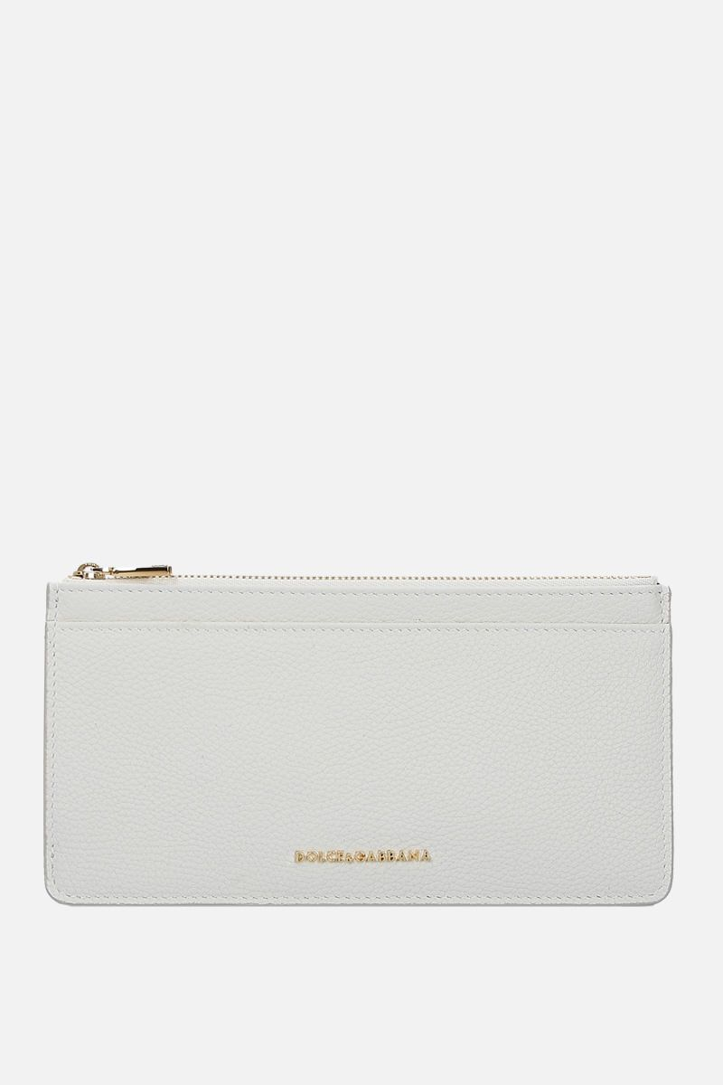 DOLCE & GABBANA: grainy leather card case Color White_1
