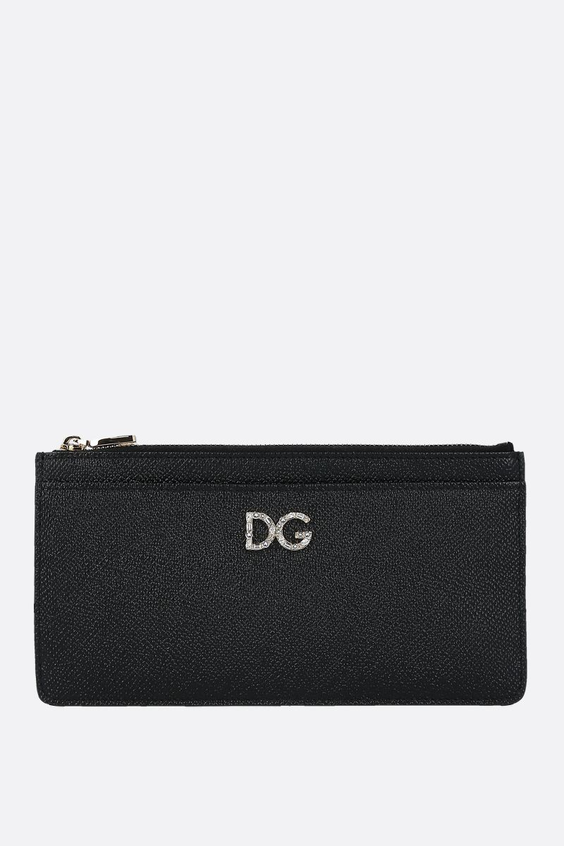 DOLCE & GABBANA: DG-detailed Dauphine leather card case Color Black_1