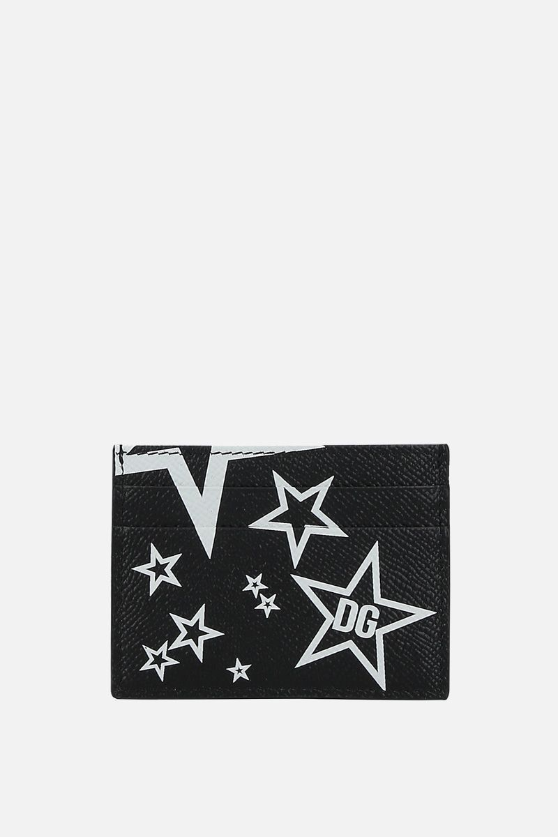DOLCE & GABBANA: Mixed Star print Dauphine leather billfold wallet_1