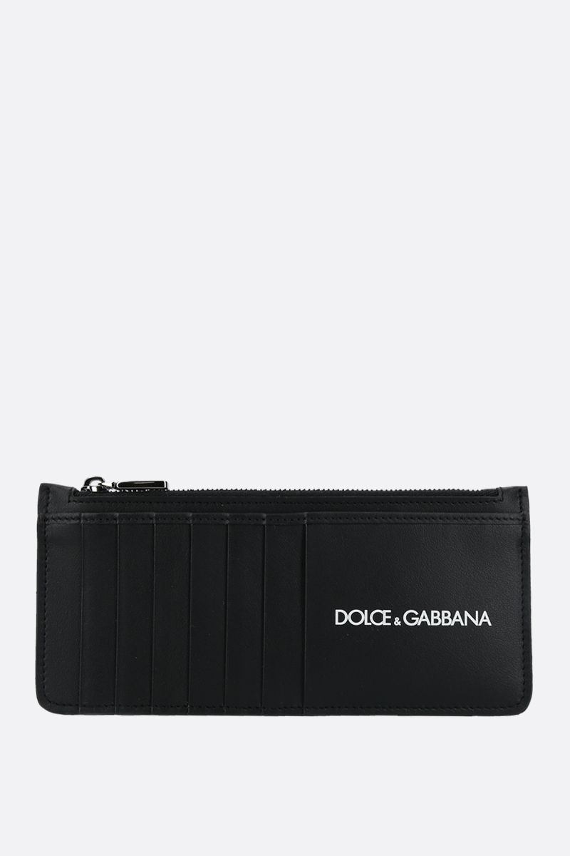 DOLCE & GABBANA: logo print smooth leather card case Color Black_1