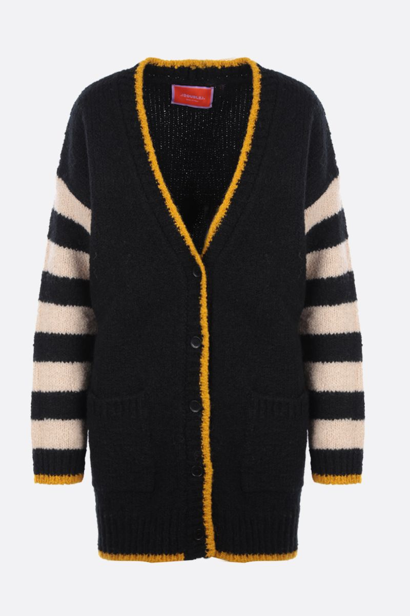 LA DOUBLE J: cardigan oversize Bowling in lana a righe Colore Black_1