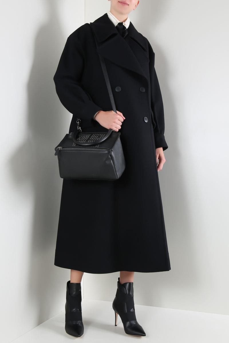 ALBERTA FERRETTI: oversize long coat in wool and cashmere Color Black_2